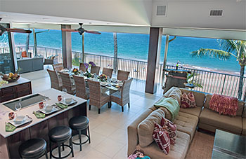 Maui vacation rental common area with oceanfront lanai (terrace)