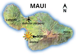 Map of Maui showing Penthouse location