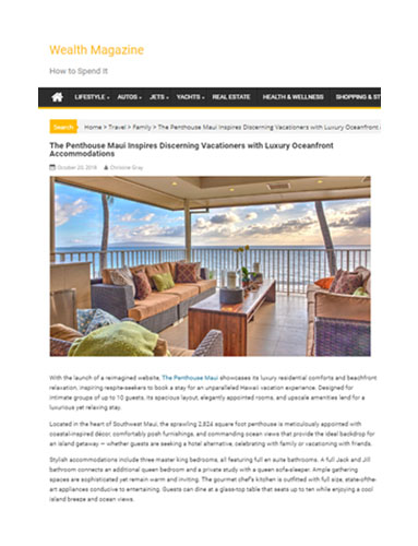 Wealth Magazine writes about The Penthouse Maui